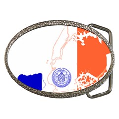 Flag Map Of New York City Belt Buckles by abbeyz71