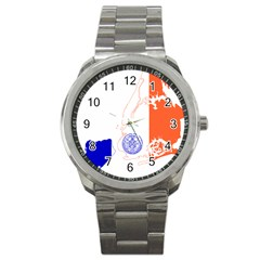 Flag Map Of New York City Sport Metal Watch by abbeyz71