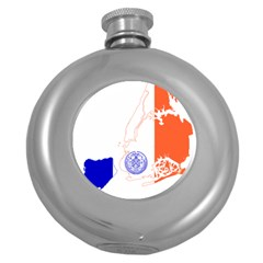 Flag Map Of New York City Round Hip Flask (5 Oz) by abbeyz71