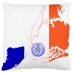 Flag Map Of New York City Large Cushion Case (two Sides) by abbeyz71