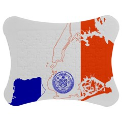 Flag Map Of New York City Jigsaw Puzzle Photo Stand (bow) by abbeyz71