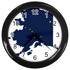 Flag Map Of Alaska Wall Clock (black)