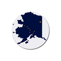 Flag Map Of Alaska Rubber Coaster (round)  by abbeyz71