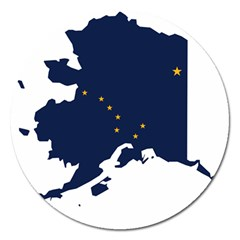 Flag Map Of Alaska Magnet 5  (round) by abbeyz71