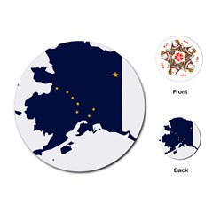 Flag Map Of Alaska Playing Cards (round) by abbeyz71