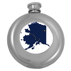 Flag Map Of Alaska Round Hip Flask (5 Oz) by abbeyz71