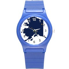 Flag Map Of Alaska Round Plastic Sport Watch (s) by abbeyz71