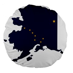 Flag Map Of Alaska Large 18  Premium Round Cushions by abbeyz71