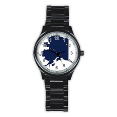 Flag Map Of Alaska Stainless Steel Round Watch by abbeyz71