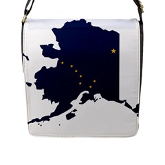 Flag Map Of Alaska Flap Closure Messenger Bag (l) by abbeyz71