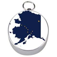 Flag Map Of Alaska Silver Compasses by abbeyz71