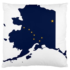 Flag Map Of Alaska Large Flano Cushion Case (two Sides) by abbeyz71