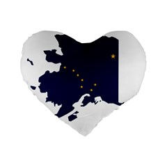 Flag Map Of Alaska Standard 16  Premium Flano Heart Shape Cushions by abbeyz71