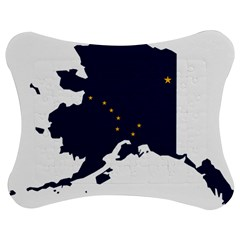 Flag Map Of Alaska Jigsaw Puzzle Photo Stand (bow) by abbeyz71