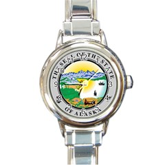 State Seal Of Alaska  Round Italian Charm Watch by abbeyz71