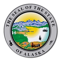 State Seal Of Alaska  Round Mousepads by abbeyz71