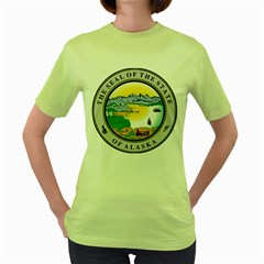State Seal Of Alaska  Women s Green T Shirt