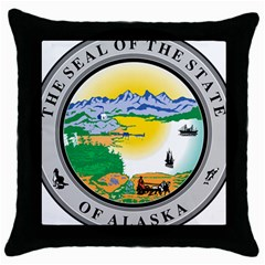State Seal Of Alaska  Throw Pillow Case (black) by abbeyz71