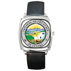 State Seal Of Alaska  Square Metal Watch