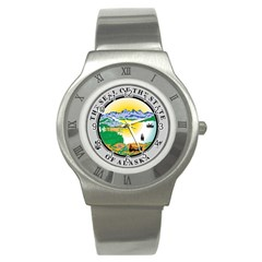 State Seal Of Alaska  Stainless Steel Watch by abbeyz71