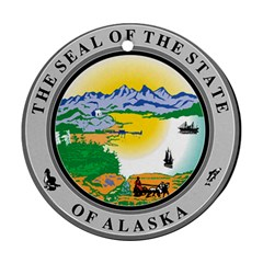 State Seal Of Alaska  Round Ornament (two Sides) by abbeyz71