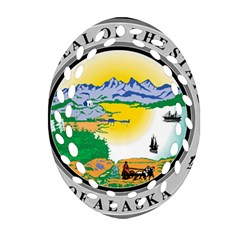 State Seal Of Alaska  Oval Filigree Ornament (two Sides) by abbeyz71
