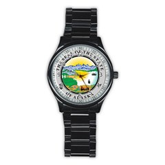 State Seal Of Alaska  Stainless Steel Round Watch
