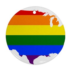 Usa Lgbt Flag Map Ornament (round)