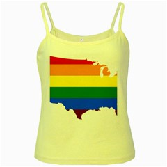 Usa Lgbt Flag Map Yellow Spaghetti Tank