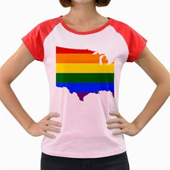 Usa Lgbt Flag Map Women s Cap Sleeve T Shirt