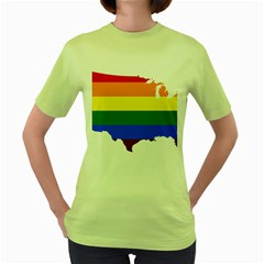 Usa Lgbt Flag Map Women s Green T Shirt