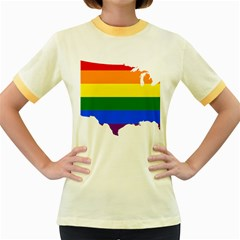 Usa Lgbt Flag Map Women s Fitted Ringer T Shirt