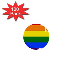 Usa Lgbt Flag Map 1  Mini Buttons (100 Pack)  by abbeyz71