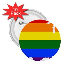 Usa Lgbt Flag Map 2 25  Buttons (10 Pack)  by abbeyz71