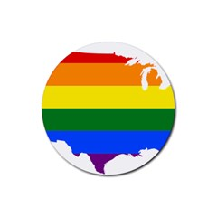 Usa Lgbt Flag Map Rubber Coaster (round)