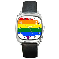 Usa Lgbt Flag Map Square Metal Watch