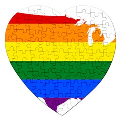 Usa Lgbt Flag Map Jigsaw Puzzle (heart)