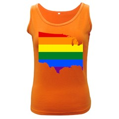 Usa Lgbt Flag Map Women s Dark Tank Top