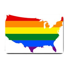 Usa Lgbt Flag Map Small Doormat  by abbeyz71