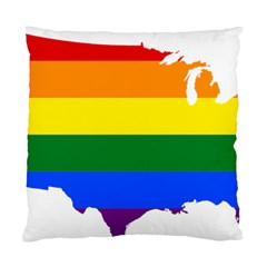Usa Lgbt Flag Map Standard Cushion Case (two Sides)