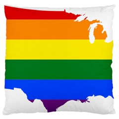 Usa Lgbt Flag Map Large Cushion Case (two Sides) by abbeyz71