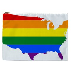 Usa Lgbt Flag Map Cosmetic Bag (xxl) by abbeyz71
