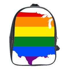 Usa Lgbt Flag Map School Bag (xl)