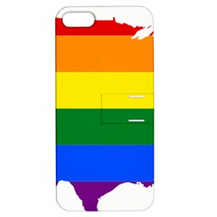 Usa Lgbt Flag Map Apple Iphone 5 Hardshell Case With Stand