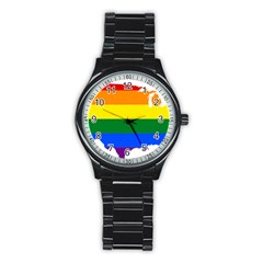 Usa Lgbt Flag Map Stainless Steel Round Watch by abbeyz71