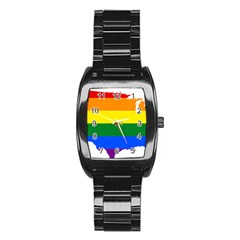 Usa Lgbt Flag Map Stainless Steel Barrel Watch by abbeyz71