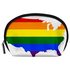 Usa Lgbt Flag Map Accessory Pouch (large)