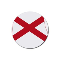 Flag Map Of Alabama Rubber Coaster (round)