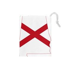 Flag Map Of Alabama Drawstring Pouch (small) by abbeyz71