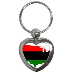 Pan African Flag Map Of United States Key Chains (heart)  by abbeyz71